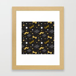 Festive gold and white mustache & bowties pattern Framed Art Print