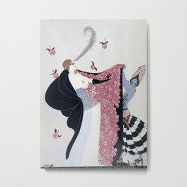"""Art Deco 1920's """"Rose Cloak"""" Illustration Metal Print"""