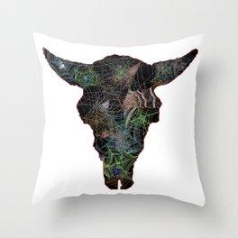 Bison Web Head Throw Pillow