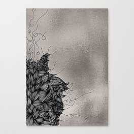 Unravelling Lines Illustration in Silver Canvas Print