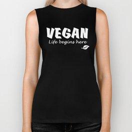 Vegan Life begins here white letters Biker Tank