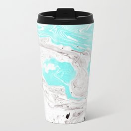 Turquoise and gray marbled effect Travel Mug