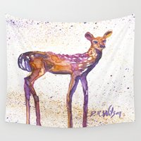 fawn Wall Tapestries featuring Rising Fawn by D. Renee Wilson