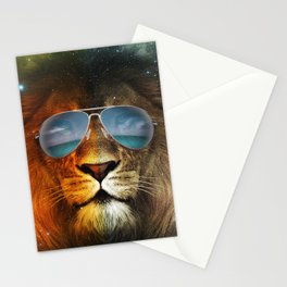 Cool Lion Face Stationery Cards