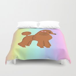 Red Poodle with Pastel Rainbow Duvet Cover