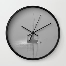 Foggy Harbor North Shore 8 BW Wall Clock
