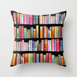 Vintage Book Library for Bibliophile Throw Pillow