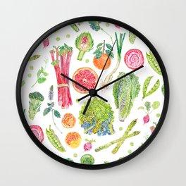 Spring Harvest Pattern White Wall Clock