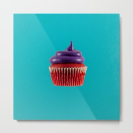Cupcake Love - Royal Velvet on Aqua Metal Print