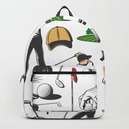 Green Fairway Golf Swing Retro Golf Print Backpack