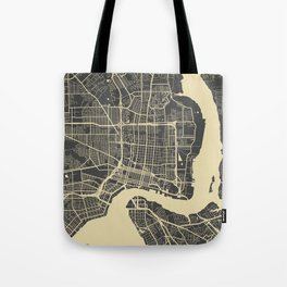 Jacksonville map yellow Tote Bag