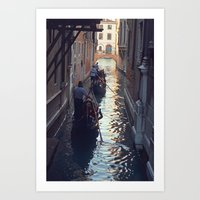 Gondola at Dusk Art Print