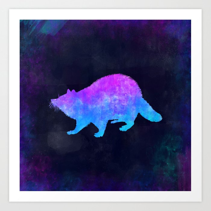 RACCOON IN SPACE // Animal Graphic Art // Watercolor Canvas Painting // Modern Minimal Cute Art Print