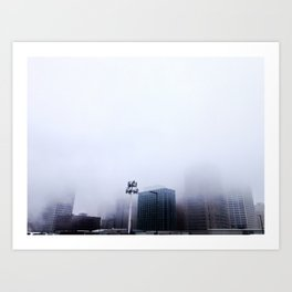 Detroit in the mist Art Print