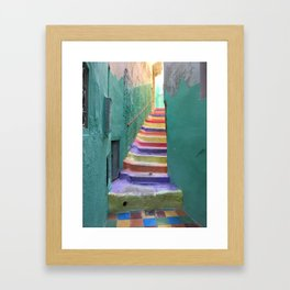 Colorful steps in Moulay Idriss, Morocco Framed Art Print