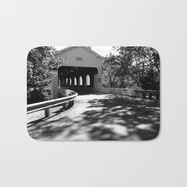 Covered Bridge in Black and White Bath Mat