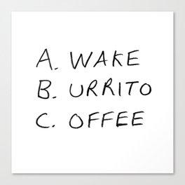 Breakfast Coffee ABC Canvas Print