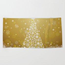 Gold Snowflakes Sparkling Christmas Tree Beach Towel