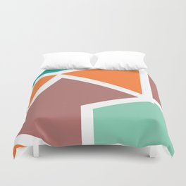 Misc shapes in retro colors Duvet Cover