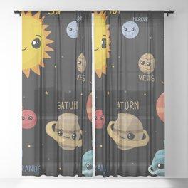 Kawaii Solar System Sheer Curtain