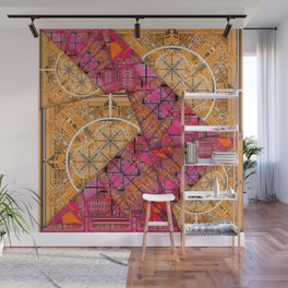 Number 155 golden yellow pink orange pattern Wall Mural