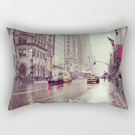 nyc street rain Rectangular Pillow