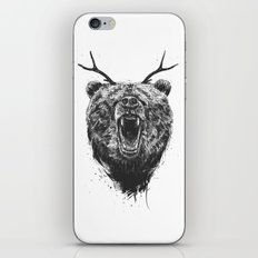 Angry bear with antlers iPhone & iPod Skin
