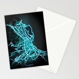 Palermo, Italy, Blue, White, Neon, Glow, City, Map Stationery Cards