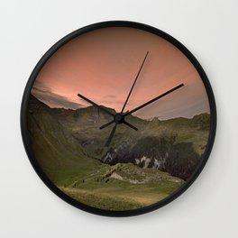 Dawn in Swiss Alps Wall Clock