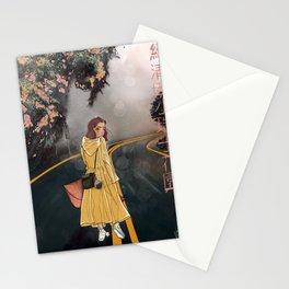 Veronica bajo los árboles y la niebla Stationery Cards