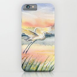 Egret-Flying in The Dawn iPhone Case