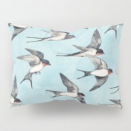Blue Sky Swallow Flight Pillow Sham
