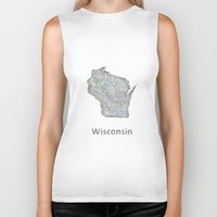 wisconsin Biker Tanks featuring Wisconsin map by David Zydd