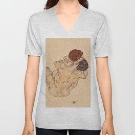 """Egon Schiele """"Mann und Frau, Umarmung"""" Unisex V-Neck"""