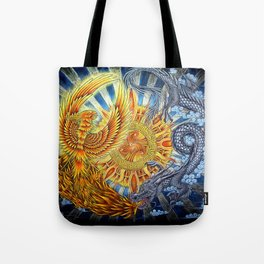 Chinese Phoenix and Dragon Mandala Tote Bag