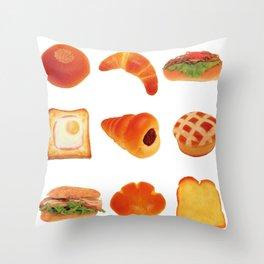 japanese kawaii breads Throw Pillow