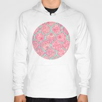 moroccan Hoodies featuring Moroccan Floral Lattice Arrangement in Pinks by micklyn