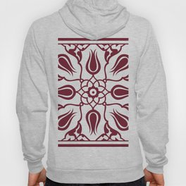 Red Turkish Traditional Floral Tile Art Hoody