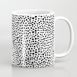 Modern Black and White Hand Drawn Polka Dots Coffee Mug