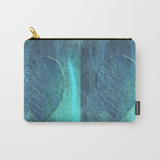 Light blue teal tonnes with an abstract leaf  Carry-All Pouch