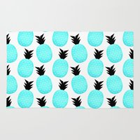 pineapples Area & Throw Rugs featuring Turquoise Pineapples by Elisabeth Fredriksson