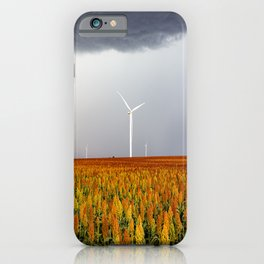 Maizy Day - Colorful Maize and Wind Turbines on Stormy Day in Kansas iPhone Case