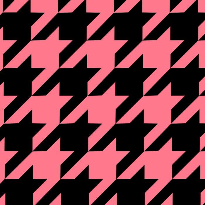Pink Grapefruit Pink & Black Houndstooth Duvet Cover