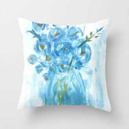 Painting of Blue Flowers in Vase, Impasto Throw Pillow