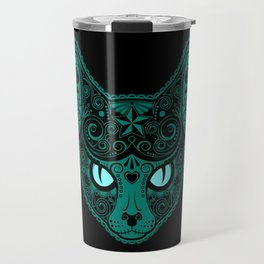 Blue Day of the Dead Sugar Skull Cat Travel Mug