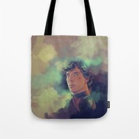 sherlock holmes Tote Bags featuring Sherlock Holmes by KanaHyde