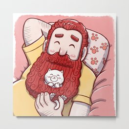 Full beard redhead man with cat Metal Print