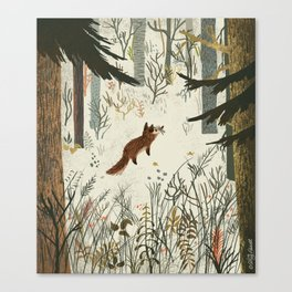 Fox In Snow Canvas Print