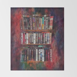 Stephen King Books on Shelves Throw Blanket