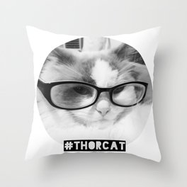 Hipster Thor Cat Throw Pillow